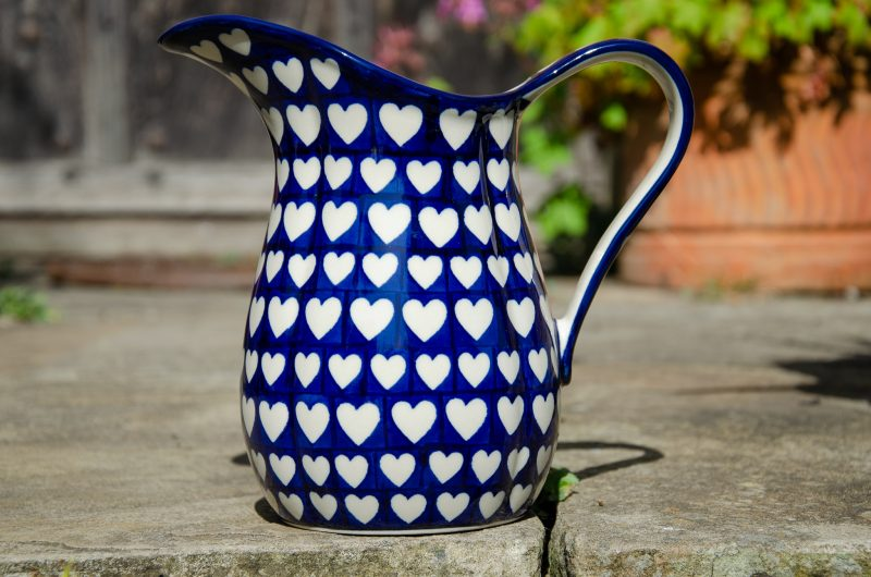Polish Pottery Hearts Pattern Large Jug from Polkadot Lane UK