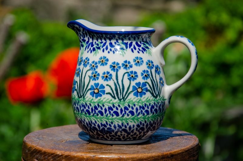 Polish Pottery Forget Me Not Small Jug from Polkadot Lane UK