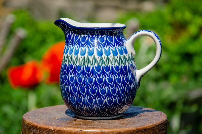 Polish Pottery Blue Tulip Small Jug from Polkadot Lane UK