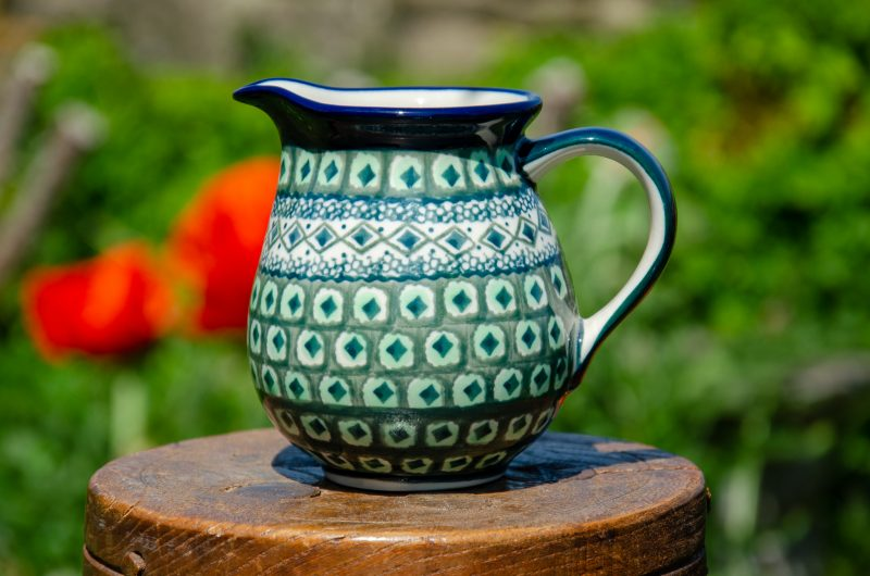 Polish Pottery Green Diamond Small Jug from Polkadot Lane