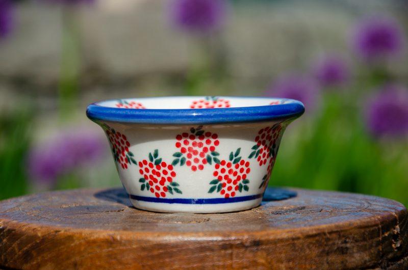 Polish Pottery Red Berry Dip Bowl from Polkadot Lane UK