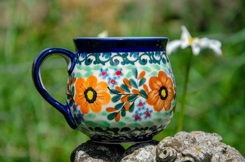Orange Flower Small Mug by Ceramika Millena Polish Pottery. From Polkadot Lane UK