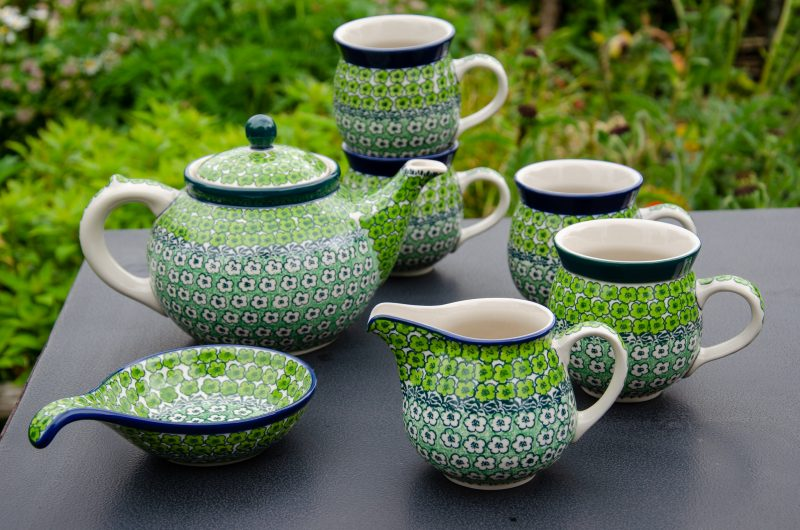 Polish Pottery Green Meadow Tea Set from Polkadot Lane UK