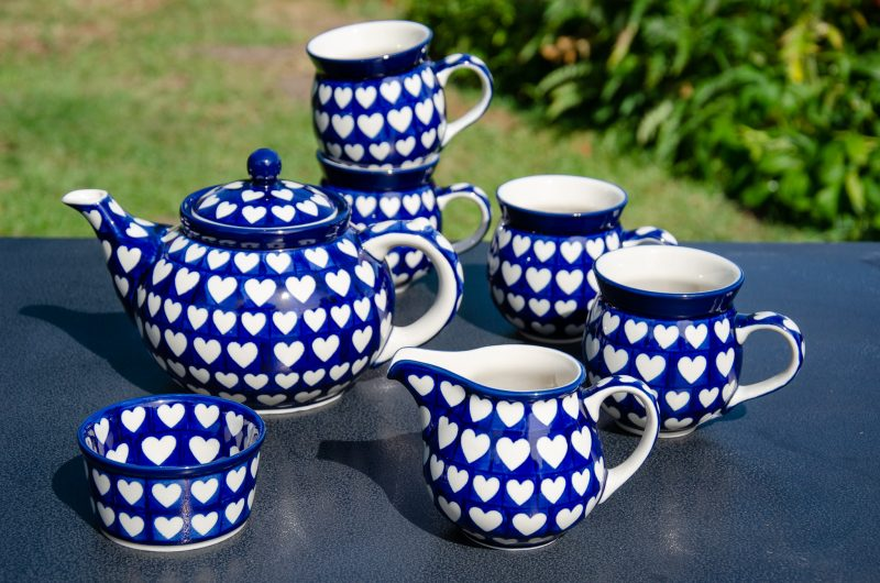 Hearts Pattern Tea Set from Polkadot Lane UK