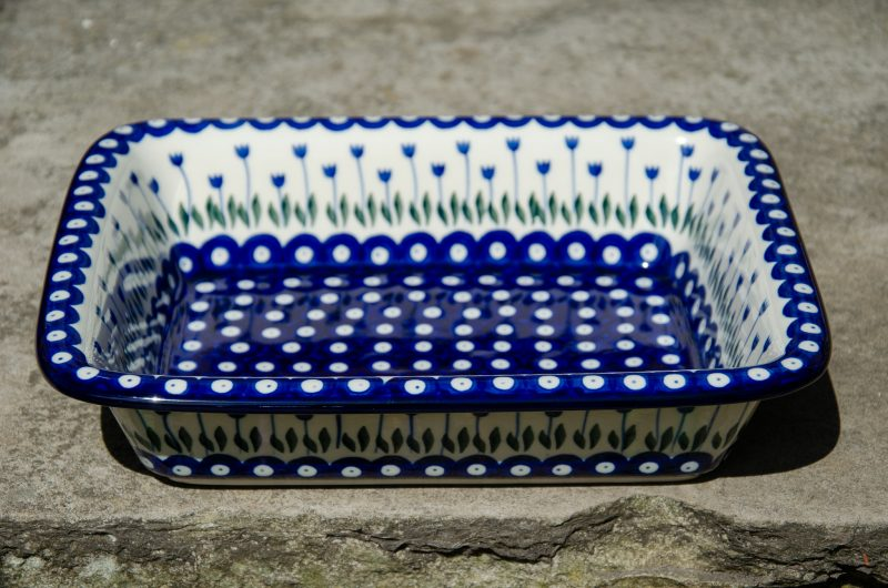 Polish Pottery Flower Spot Large Oven Dish With Rim from Polkadot Lane UK