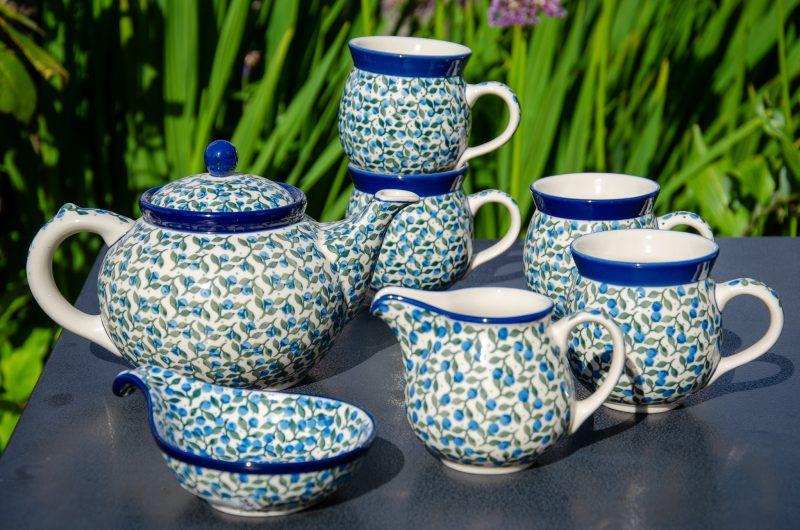 Blue Berry Leaf Tea Set from Polkadot Lane UK