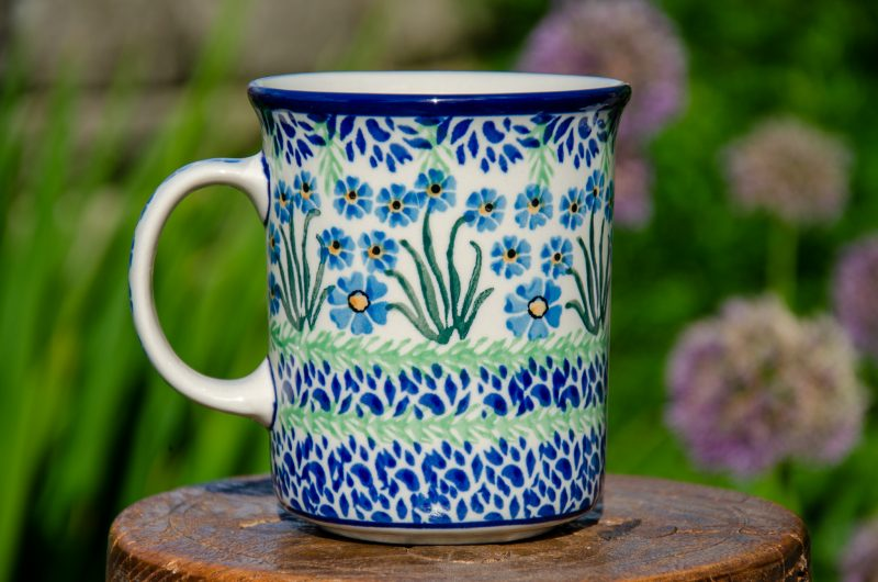 Polish Pottery Forget Me Not Large Tea Mug from Polkadot Lane UK