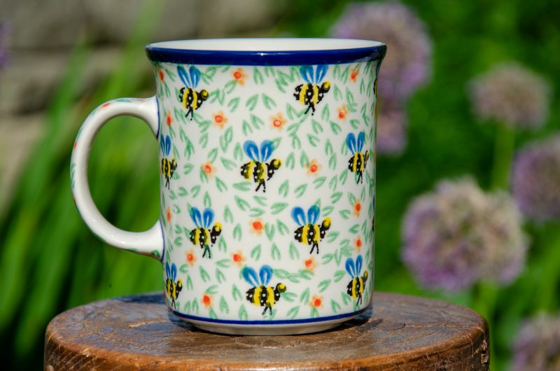Bee Pattern Large Tea Mug from Polkadot Lane Polish Pottery
