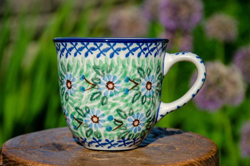 Polish Pottery Blue Flower Curved Mug from Polkadot Lane UK