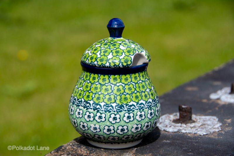 Sugar Bowl Green Meadow Pattern by Ceramika Artystyczna