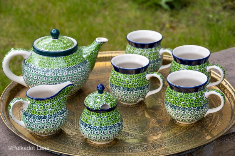 Tea Set Green Meadow Pattern by Ceramika Artystyczna Polish Pottery