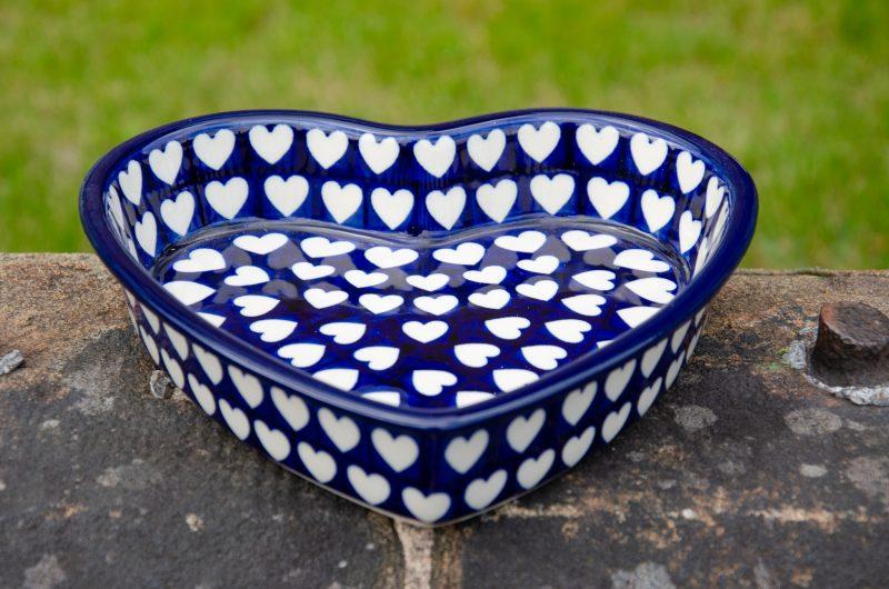 Hearts Pattern Shallow Heart Dish Boleslawiec polish pottery from Polkadot Lane UK