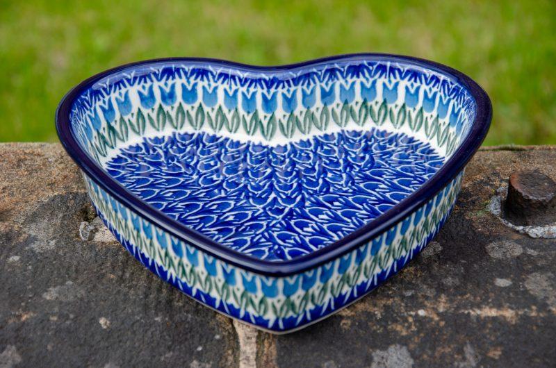 Blue Tulip Shallow Heart Dish from Polkadot Lane UK