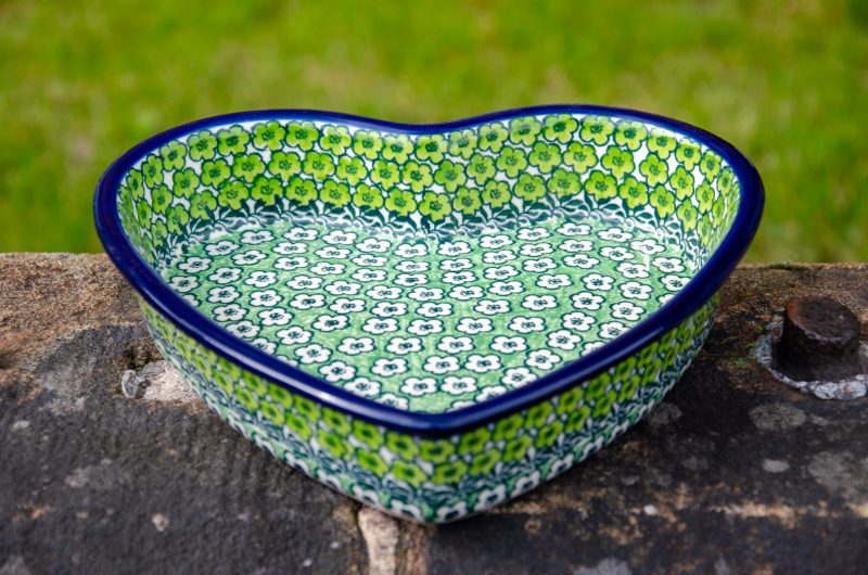 Green Shallow Heart Dish Polish Pottery from Polkadot Lane UK