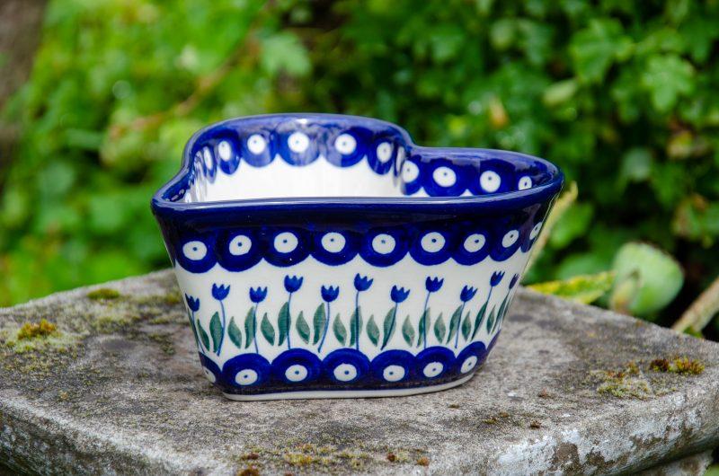 Flower Spot Small Heart Dish Ceramika Artystyczna Polish Pottery From Polkadot Lane UK