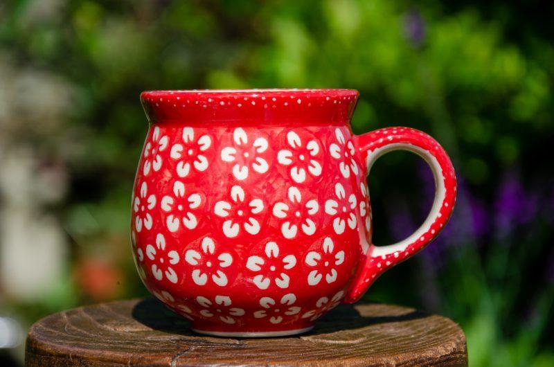 White Flower on Red Mug by Ceramika Manufaktura Polish Pottery