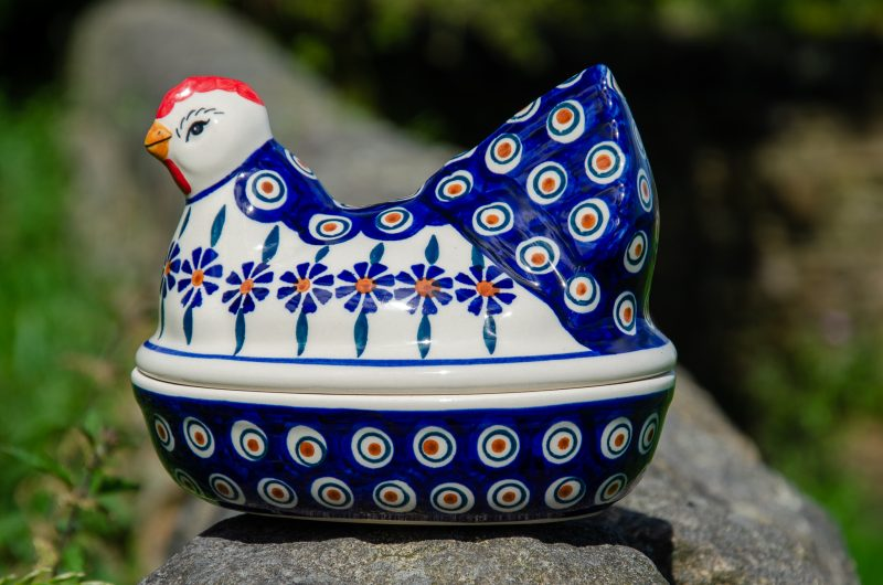 Polish Pottery Peacock Flower Hen Egg Container by Ceramika Manufaktura