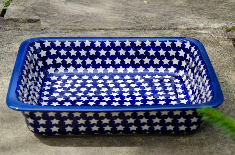 Polish Pottery White Star Pattern Large Oven Dish from Polkadot Lane UK