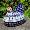 Polish Pottery Peacock Flower Hen Egg Container from Polkadot Lane UK