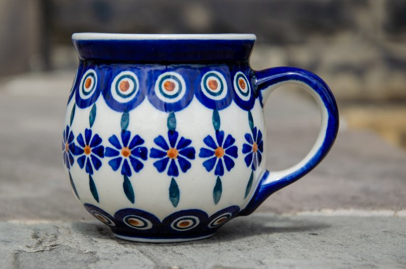 Peacock Flower Mug by Ceramika Manufaktura Polish Pottery