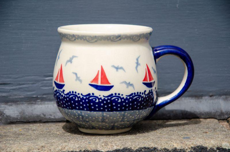 Boats Pattern Mug by Ceramika Manufaktura Boleslawiec
