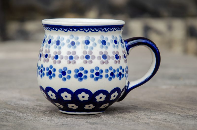 Spotty Flowers Mug Polish pottery from Polkadot Lane UK