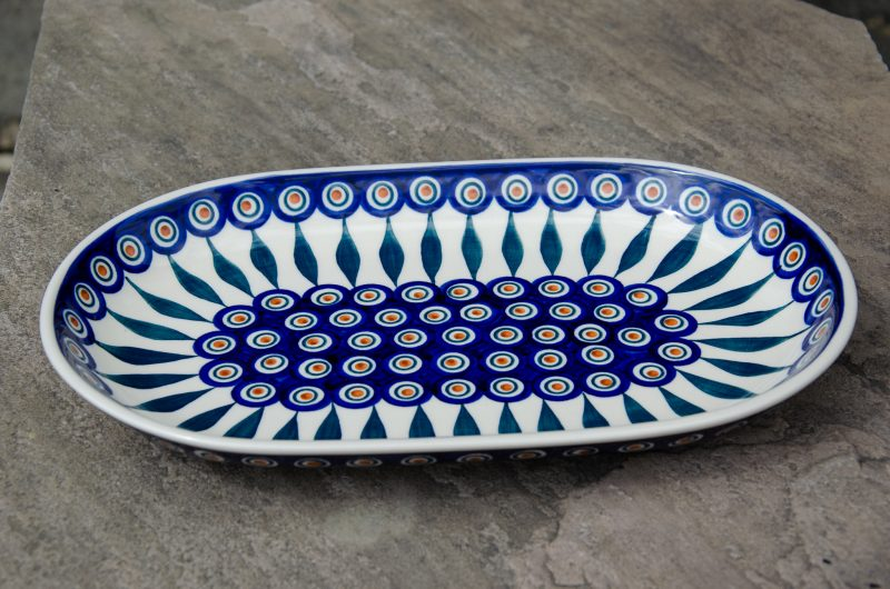 Polish Pottery Peacock Leaf Serving Plate from Polkadot Lane UK