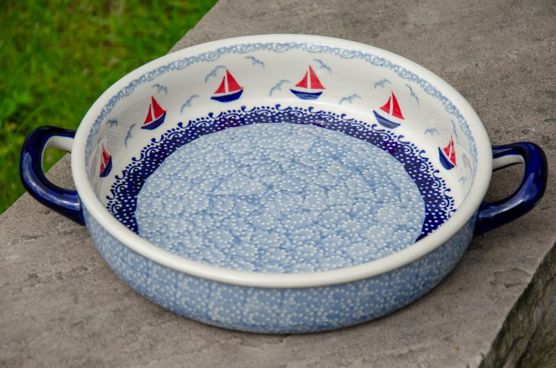 Boats Pattern Round Dish with Handles by Ceramika Manufacture