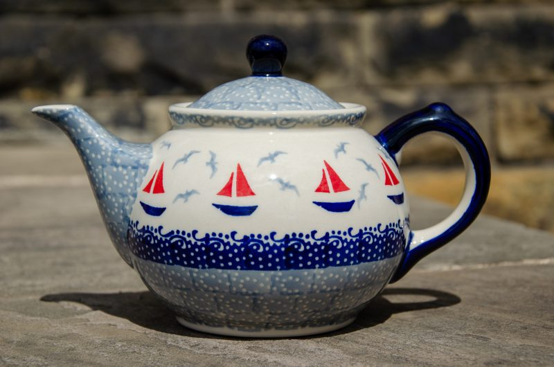 Ceramika Manufaktura Boats Pattern Teapot from Polkadot Lane UK