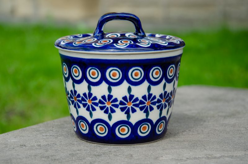 Polish Pottery Peacock Flower Storage Container Medium Size