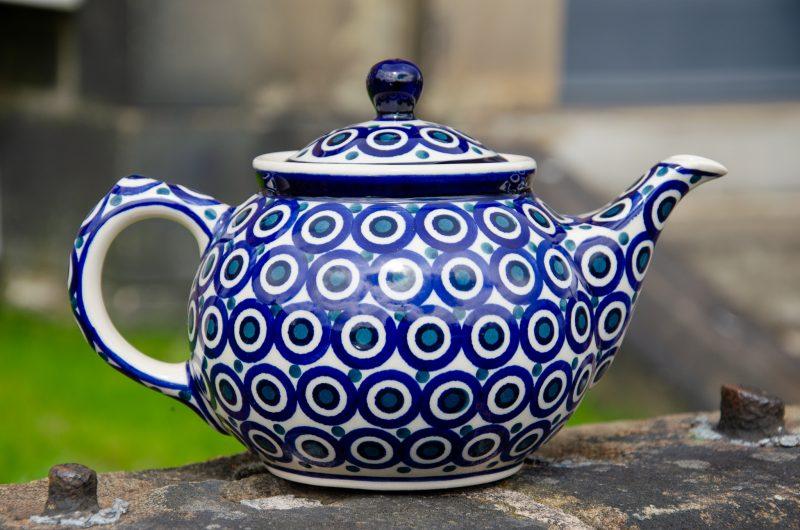 Polish Pottery Circles Pattern Teapot for 2 from Polkadot Lane UK