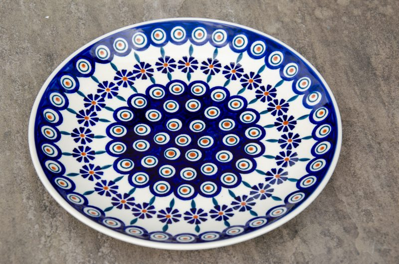 Peacock Flower Dinner Plate by Ceramika Manufaktura