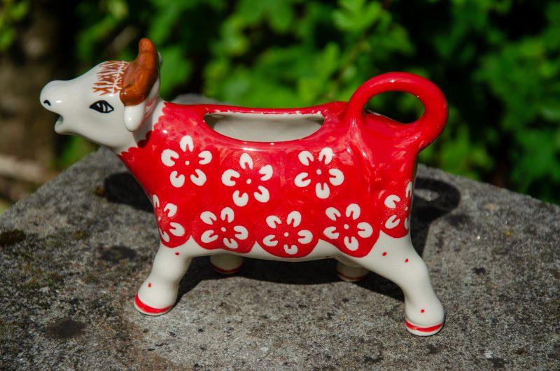 Ceramika Manufaktura White Flower on Red Cow Jug from Polkadot Lane UK