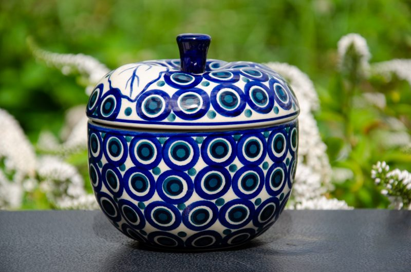 Polish Pottery Circles Apple Baker by Ceramika Manufaktura