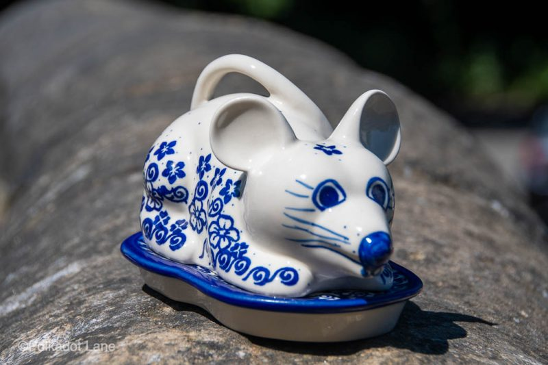 Blue Flower Swirl Cheese Cover by Ceramika Andy Polish Pottery