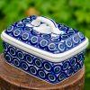 Circles Pattern Butter Box Manufaktura Polish Pottery