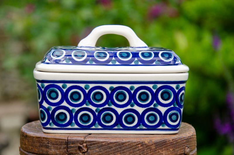 Circles Pattern Butter Box by Ceramika Manufaktura Polish Pottery