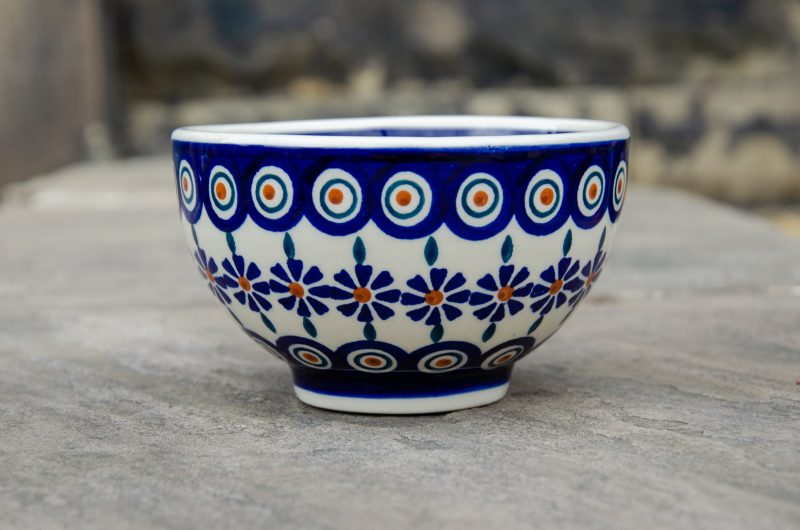 Polish Pottery Peacock Daisy French Style Bowl