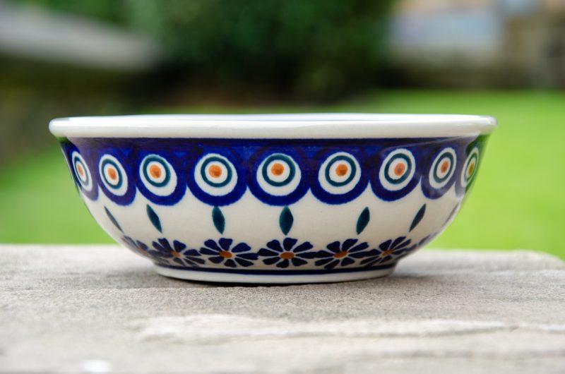 Polish Pottery Peacock Leaf Dessert Bowl
