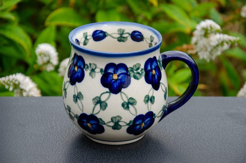 Blue Pansy Unikat Large Mug Polish Pottery