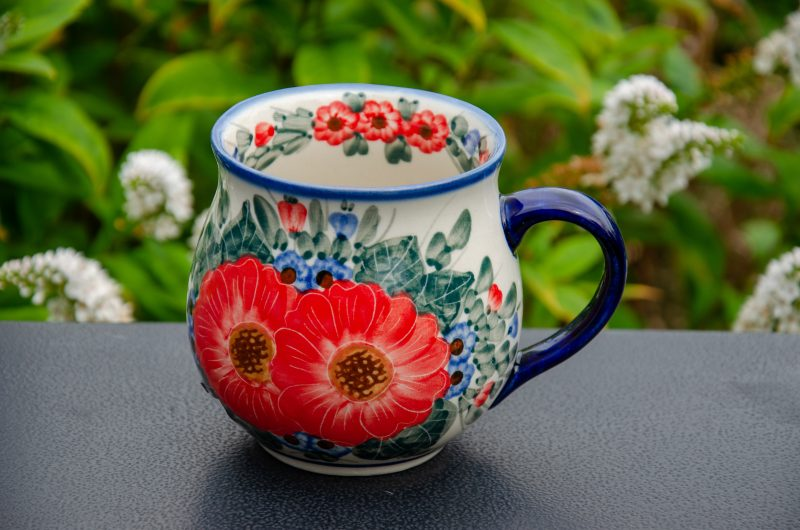 Red Flower Garden Large Mug By Ceramika Andy