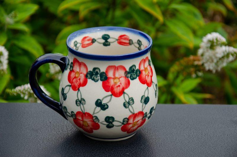 Red Pansy Large Mug by Ceramika Andy Polish Pottery