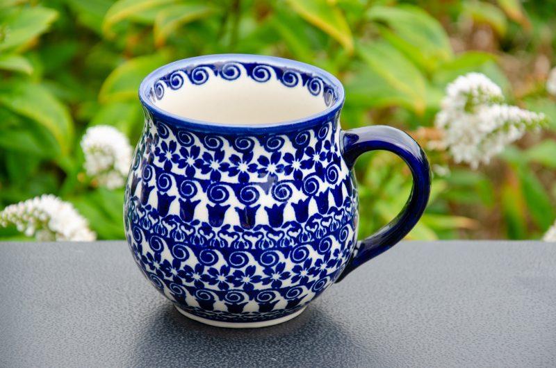 Polish Pottery Blue Flower Swirl Pattern Large Mug from Polkadot Lane UK