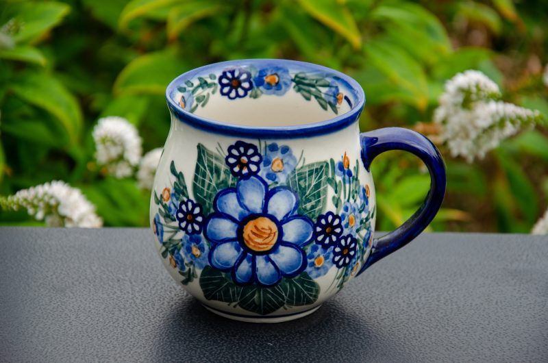 Blue Flower Large Mug by Ceramika Andy Polish Pottery