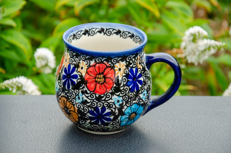 Mexican Flower Unikat Large Mug by Ceramika Andy Polish Pottery