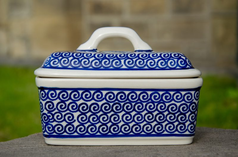 Swirl Pattern Butter Box by Ceramika Manufaktura Polish Pottery