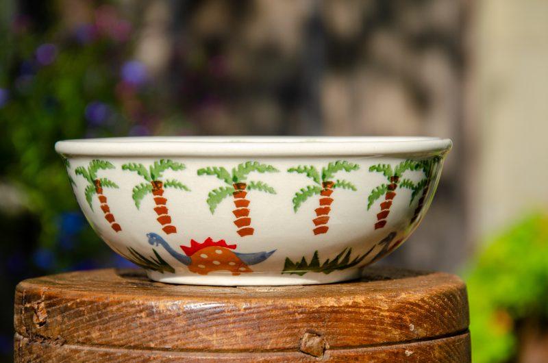 Polish Pottery Dinosaur Pattern Dessert Bowl from Polkadot Lane UK