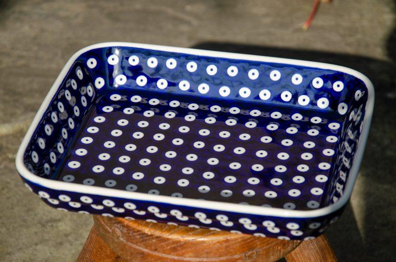 Polish Pottery Blue Spotty Shallow Oven Dish from Polkadot Lane UK