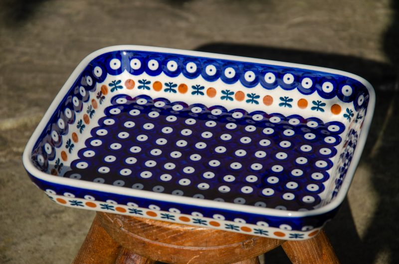 Ceramika Manufaktura Polish Pottery Fern Spot Shallow Oven Dish from Polkadot Lane