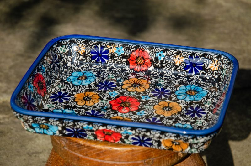 Mexican Flower Pattern Shallow Oven Dish by Ceramika Andy